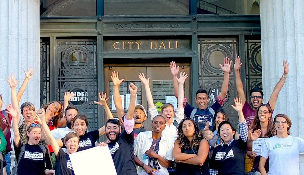 Celebration of a city council resolution on co-ops in Oakland, CA via resilience.org