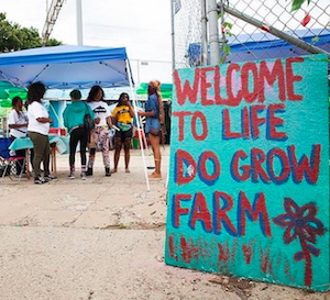 "People standing under a tent, behind a sign that says ""Welcome to Life Do Grow Farm"""